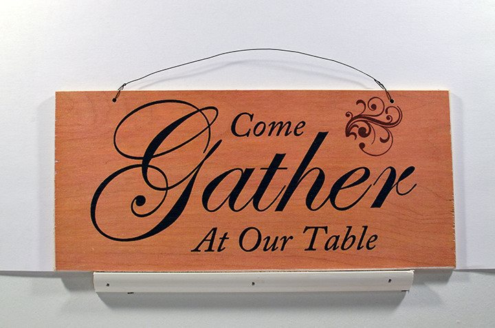 Wooden Wall Sign 10x5 - S021 - Come gather at our table - Wall Sign - Wicked Good Candle and Decor - 1