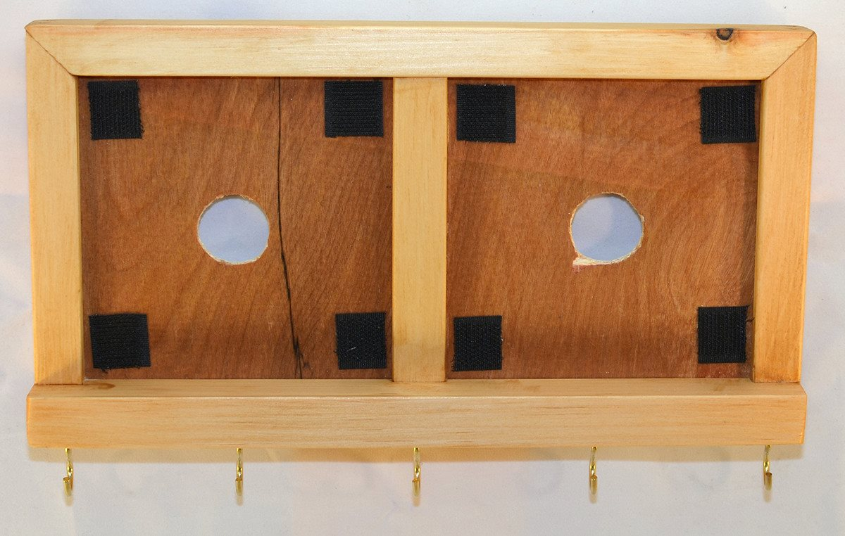 Decorative Ceramic Tile Wooden Frame - Two Tile Frame with Key Hooks - Summer Oak - Wicked Good Candle and Decor - 1