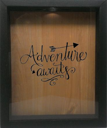 "Wooden Shadow Box Wine Cork/Bottle Cap Holder 9""x11"" - Adventure Awaits - Ebony Frame w/Black Lettering - Wicked Good Candle and Decor - 1"