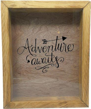 "Wooden Shadow Box Wine Cork/Bottle Cap Holder 9""x11"" - Adventure Awaits - Summer Oak w/Black Lettering - Wicked Good Candle and Decor - 2"