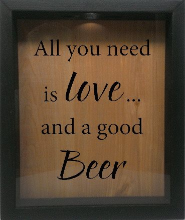 "Wooden Shadow Box Wine Cork/Bottle Cap Holder 9""x11"" - All You Need is Love and a Good Beer - Ebony Frame w/Black Lettering - Wicked Good Candle and Decor - 1"