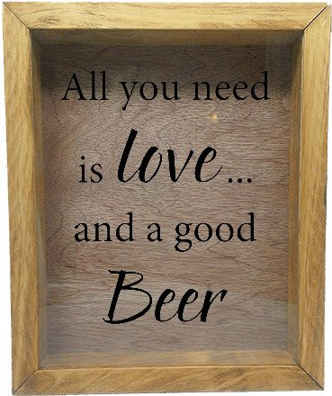 "Wooden Shadow Box Wine Cork/Bottle Cap Holder 9""x11"" - All You Need is Love and a Good Beer - Summer Oak w/Black Lettering - Wicked Good Candle and Decor - 2"