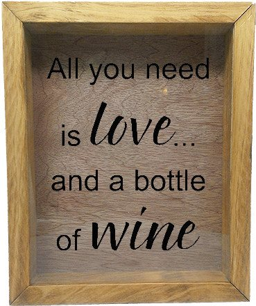"Wooden Shadow Box Wine Cork/Bottle Cap Holder 9""x11"" - All You Need is Love and a Bottle of Wine - Summer Oak w/Black Lettering - Wicked Good Candle and Decor - 2"