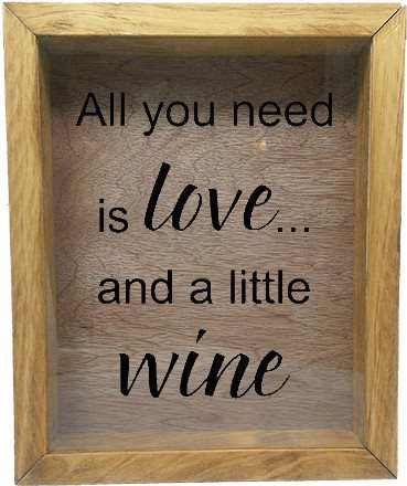 "Wooden Shadow Box Wine Cork/Bottle Cap Holder 9""x11"" - All You Need is Love and a Little Wine - Summer Oak w/Black Lettering - Wicked Good Candle and Decor - 1"