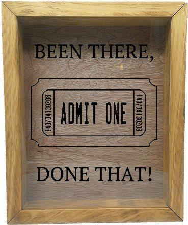 "Wooden Shadow Box Wine Cork/Bottle Cap Holder 9""x11"" - Been There, Done That! with Ticket"