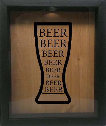 "Wooden Shadow Box Wine Cork/Bottle Cap Holder 9""x11"" - Beer Beer Beer in Glass - Ebony Frame w/Black Lettering - Wicked Good Candle and Decor - 2"