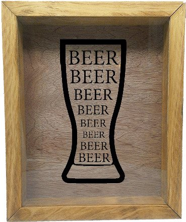 "Wooden Shadow Box Wine Cork/Bottle Cap Holder 9""x11"" - Beer Beer Beer in Glass - Summer Oak w/Black Lettering - Wicked Good Candle and Decor - 3"