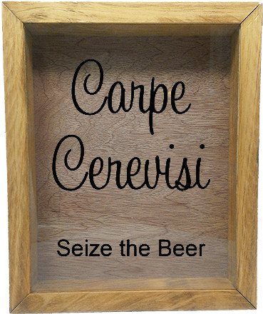 "Wooden Shadow Box Wine Cork/Bottle Cap Holder 9""x11"" - Carpe Cerevisi Seize The Beer - Summer Oak w/Black Lettering - Wicked Good Candle and Decor - 2"