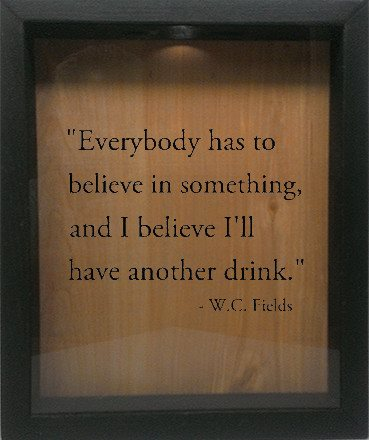 "Wooden Shadow Box Wine Cork/Bottle Cap Holder 9""x11"" - Everybody has to Believe in Something - Ebony Frame w/Black Lettering - Wicked Good Candle and Decor - 1"
