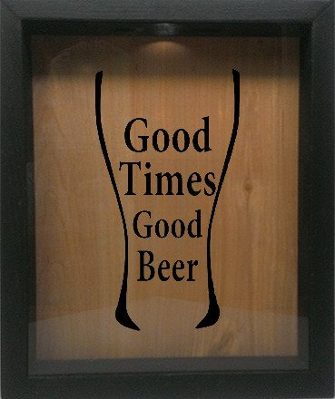 "Wooden Shadow Box Wine Cork/Bottle Cap Holder 9""x11"" - Good Times Good Beer in Glass - Ebony Frame w/Black Lettering - Wicked Good Candle and Decor - 1"