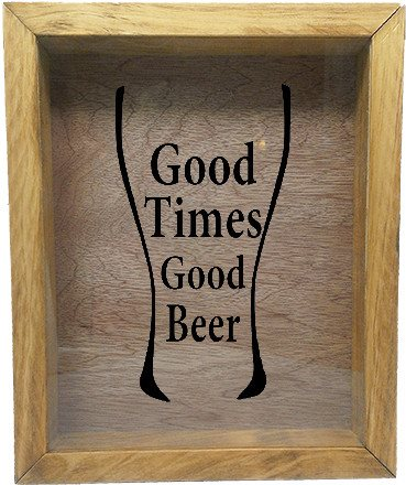 "Wooden Shadow Box Wine Cork/Bottle Cap Holder 9""x11"" - Good Times Good Beer in Glass - Summer Oak w/Black Lettering - Wicked Good Candle and Decor - 2"