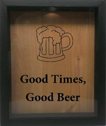 "Wooden Shadow Box Wine Cork/Bottle Cap Holder 9""x11"" - Good Times, Good Beer with Beer Mug - Ebony Frame w/Black Lettering - Wicked Good Candle and Decor - 1"