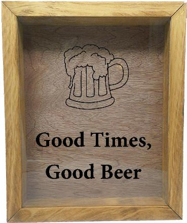 "Wooden Shadow Box Wine Cork/Bottle Cap Holder 9""x11"" - Good Times, Good Beer with Beer Mug - Summer Oak w/Black Lettering - Wicked Good Candle and Decor - 2"