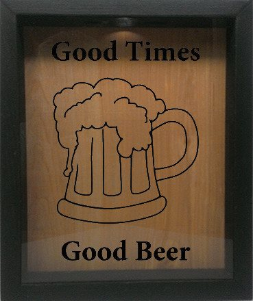 "Wooden Shadow Box Wine Cork/Bottle Cap Holder 9""x11"" - Good Times, Good Beer with Beer Mug 2 - Ebony Frame w/Black Lettering - Wicked Good Candle and Decor - 1"