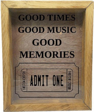"Wooden Shadow Box Wine Cork/Bottle Cap Holder 9""x11"" - Good Times Good Music Good Memories - Summer Oak w/Black Lettering - Wicked Good Candle and Decor - 2"