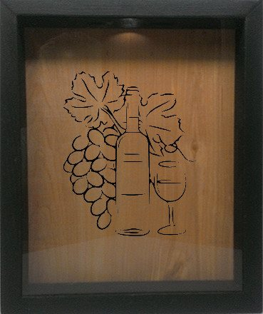 "Wooden Shadow Box Wine Cork/Bottle Cap Holder 9""x11"" - Grapes Bottle Glass - Ebony Frame w/Black Lettering - Wicked Good Candle and Decor - 1"