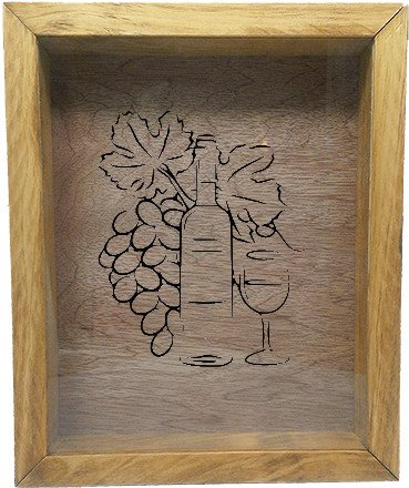 "Wooden Shadow Box Wine Cork/Bottle Cap Holder 9""x11"" - Grapes Bottle Glass - Summer Oak w/Black Lettering - Wicked Good Candle and Decor - 2"