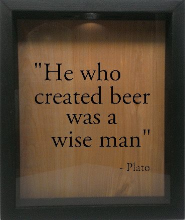 "Wooden Shadow Box Wine Cork/Bottle Cap Holder 9""x11"" - He Who Invented Beer Was A Wise Man - Ebony Frame w/Black Lettering - Wicked Good Candle and Decor - 1"