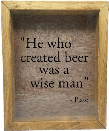 "Wooden Shadow Box Wine Cork/Bottle Cap Holder 9""x11"" - He Who Invented Beer Was A Wise Man - Summer Oak w/Black Lettering - Wicked Good Candle and Decor - 2"