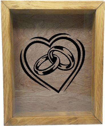 "Wooden Shadow Box Wine Cork/Bottle Cap Holder 9""x11"" - Heart with Wedding Rings - Summer Oak w/Black Lettering - Wicked Good Candle and Decor - 2"