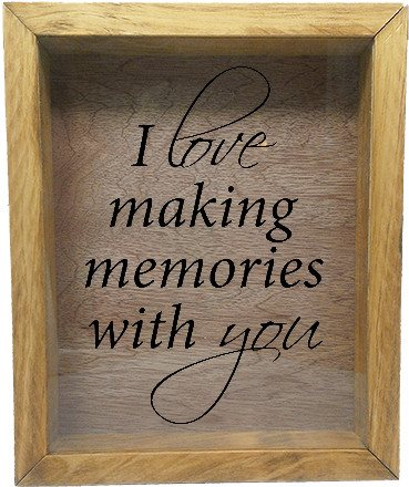 "Wooden Shadow Box Wine Cork/Bottle Cap Holder 9""x11"" - I Love Making Memories With You - Summer Oak w/Black Lettering - Wicked Good Candle and Decor - 2"