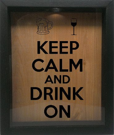 "Wooden Shadow Box Wine Cork/Bottle Cap Holder 9""x11"" - Keep Calm and Drink On with Mug and Glass - Ebony Frame w/Black Lettering - Wicked Good Candle and Decor - 1"