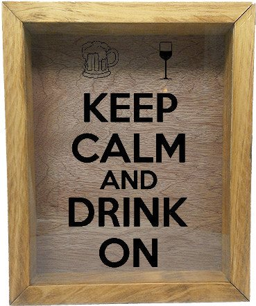"Wooden Shadow Box Wine Cork/Bottle Cap Holder 9""x11"" - Keep Calm and Drink On with Mug and Glass - Summer Oak w/Black Lettering - Wicked Good Candle and Decor - 2"