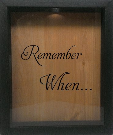 "Wooden Shadow Box Wine Cork/Bottle Cap Holder 9""x11"" - Remember When - Ebony Frame w/Black Lettering - Wicked Good Candle and Decor - 1"