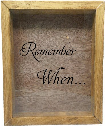 "Wooden Shadow Box Wine Cork/Bottle Cap Holder 9""x11"" - Remember When - Summer Oak w/Black Lettering - Wicked Good Candle and Decor - 2"
