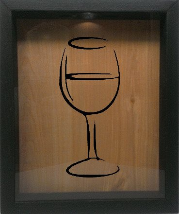 "Wooden Shadow Box Wine Cork/Bottle Cap Holder 9""x11"" - Wine Glass Silhouette - Ebony Frame w/Black Lettering - Wicked Good Candle and Decor - 1"
