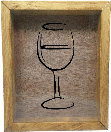 "Wooden Shadow Box Wine Cork/Bottle Cap Holder 9""x11"" - Wine Glass Silhouette - Summer Oak w/Black Lettering - Wicked Good Candle and Decor - 2"