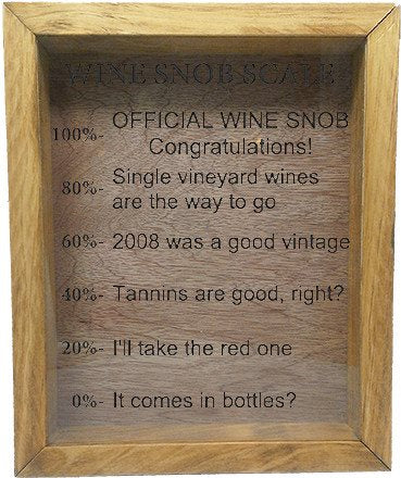 "Wooden Shadow Box Wine Cork/Bottle Cap Holder 9""x11"" - Wine Snob Scale - Summer Oak w/Black Lettering - Wicked Good Candle and Decor - 2"