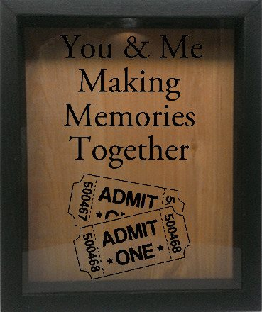 "Wooden Shadow Box Wine Cork/Bottle Cap Holder 9""x11"" - You and Me Making Memories Together - Ebony Frame w/Black Lettering - Wicked Good Candle and Decor - 1"