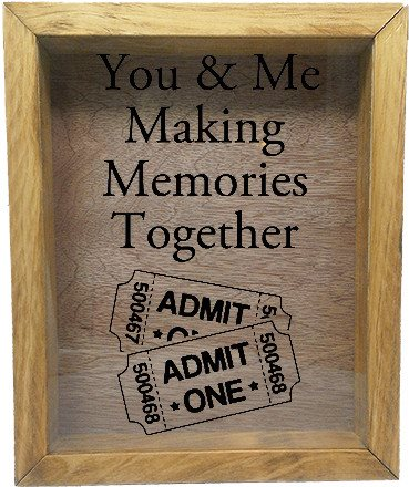 "Wooden Shadow Box Wine Cork/Bottle Cap Holder 9""x11"" - You and Me Making Memories Together - Summer Oak w/Black Lettering - Wicked Good Candle and Decor - 2"