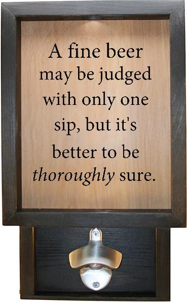 "Wooden Shadow Box Bottle Cap Holder with Bottle Opener 9""x15"" - A Fine Beer can be judged - Ebony Frame w/Black Lettering - Wicked Good Candle and Decor - 1"