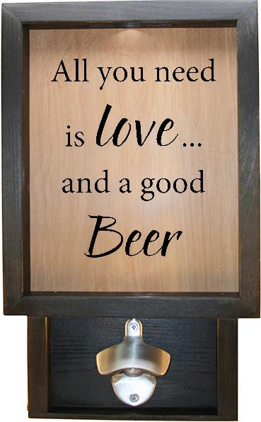 "Wooden Shadow Box Bottle Cap Holder with Bottle Opener 9""x15"" - All You Need Is Love And A Good Beer - Ebony Frame w/Black Lettering - Wicked Good Candle and Decor - 1"