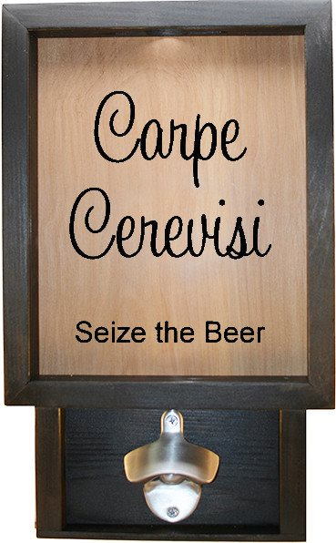 "Wooden Shadow Box Bottle Cap Holder with Bottle Opener 9""x15"" - Carpe Cerevisi - Ebony Frame w/Black Lettering - Wicked Good Candle and Decor - 1"