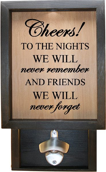 "Wooden Shadow Box Bottle Cap Holder with Bottle Opener 9""x15"" - Cheers! - Ebony Frame w/Black Lettering - Wicked Good Candle and Decor - 1"