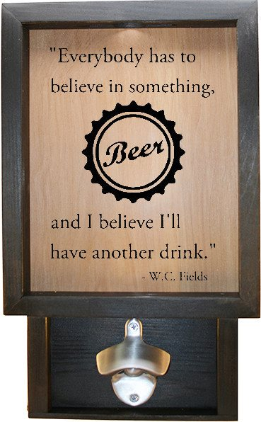 "Wooden Shadow Box Bottle Cap Holder with Bottle Opener 9""x15"" - Everybody has to w/Cap - Ebony Frame w/Black Lettering - Wicked Good Candle and Decor - 1"