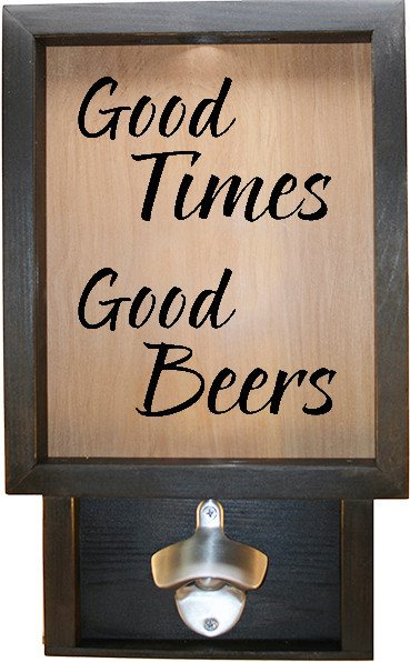 "Wooden Shadow Box Bottle Cap Holder with Bottle Opener 9""x15"" - Good Times Good Beers - Ebony Frame w/Black Lettering - Wicked Good Candle and Decor - 1"