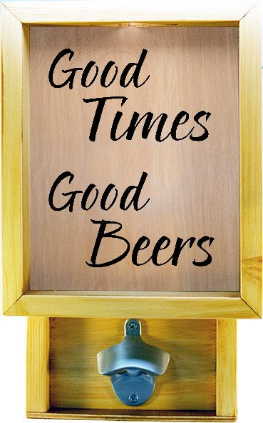 "Wooden Shadow Box Bottle Cap Holder with Bottle Opener 9""x15"" - Good Times Good Beers - Summer Oak w/Black Lettering - Wicked Good Candle and Decor - 2"