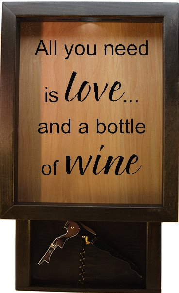 "Wooden Shadow Box Wine Cork Holder with Corkscrew 9""x15"" - All You Need Is Love And A Bottle Of Wine - Ebony Frame w/Black Lettering - Wicked Good Candle and Decor - 1"