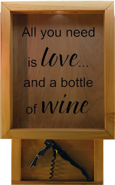 "Wooden Shadow Box Wine Cork Holder with Corkscrew 9""x15"" - All You Need Is Love And A Bottle Of Wine - Summer Oak w/Black Lettering - Wicked Good Candle and Decor - 2"