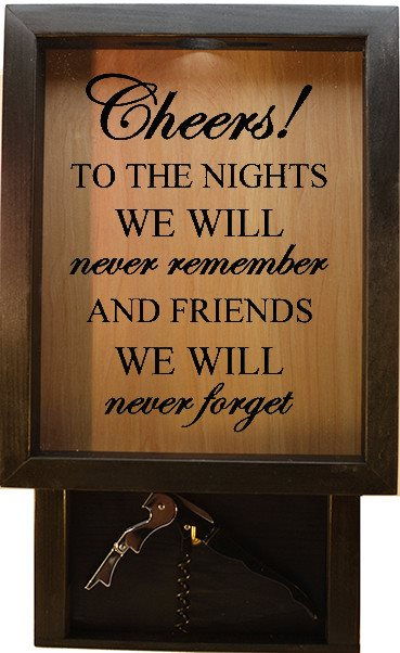 "Wooden Shadow Box Wine Cork Holder with Corkscrew 9""x15"" - Cheers To The Nights We Will Never Forget - Ebony Frame w/Black Lettering - Wicked Good Candle and Decor - 1"