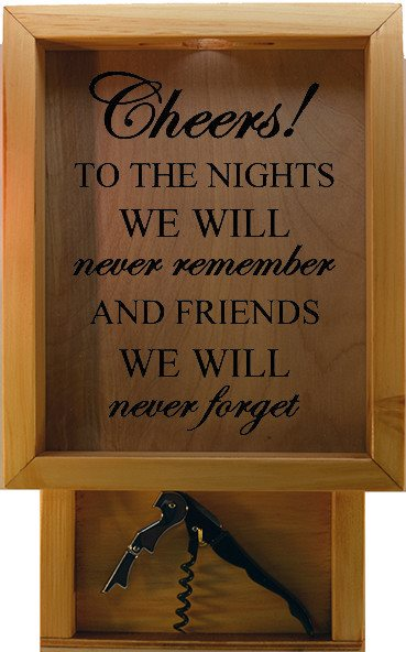 "Wooden Shadow Box Wine Cork Holder with Corkscrew 9""x15"" - Cheers To The Nights We Will Never Forget - Summer Oak w/Black Lettering - Wicked Good Candle and Decor - 2"