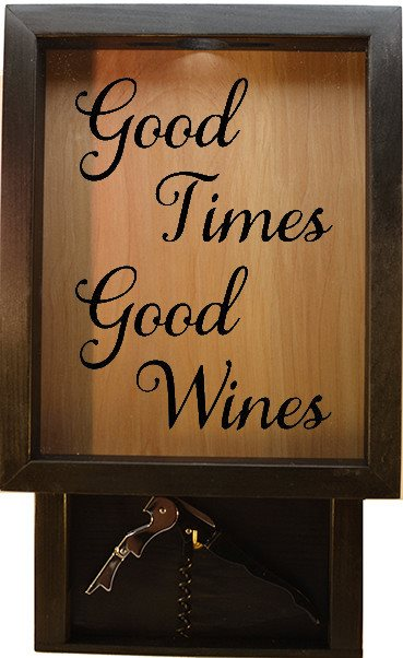 "Wooden Shadow Box Wine Cork Holder with Corkscrew 9""x15"" - Good Times Good Wines - Ebony Frame w/Black Lettering - Wicked Good Candle and Decor - 1"