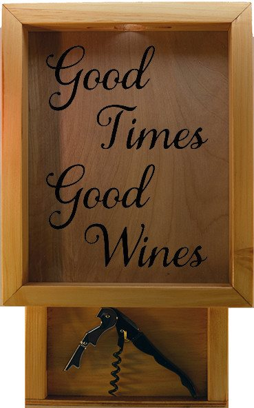 "Wooden Shadow Box Wine Cork Holder with Corkscrew 9""x15"" - Good Times Good Wines - Summer Oak w/Black Lettering - Wicked Good Candle and Decor - 2"