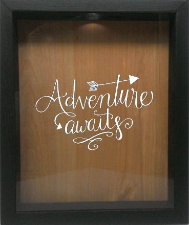 "Wooden Shadow Box Wine Cork/Bottle Cap Holder 9""x11"" - Adventure Awaits - Ebony Frame w/White Lettering - Wicked Good Candle and Decor - 4"