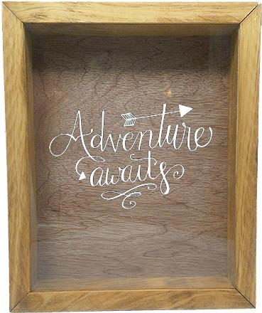 "Wooden Shadow Box Wine Cork/Bottle Cap Holder 9""x11"" - Adventure Awaits - Summer Oak Frame w/White Lettering - Wicked Good Candle and Decor - 5"