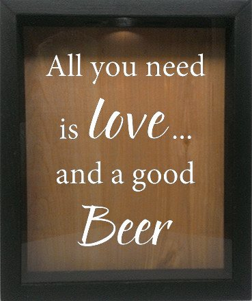 "Wooden Shadow Box Wine Cork/Bottle Cap Holder 9""x11"" - All You Need is Love and a Good Beer - Ebony Frame w/White Lettering - Wicked Good Candle and Decor - 4"